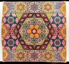 Hexagon Mosaic  Made by Grace McCance Snyder  Made in McPherson County, Nebraska  Dated 1940