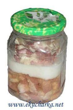 Vepřové maso ve vlastní šťávě zavařené Preserves, Pickles, Cucumber, Mason Jars, Frozen, Food And Drink, Herbs, Homemade, Canning