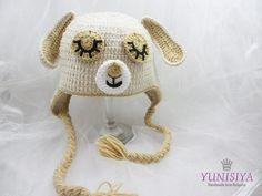 Baby Dog Hat Crochet dog Hat Knit dog Hat Animal Hat by Yunisiya