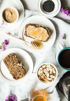 Black Sesame Banana Bread with Tahini Almond Butter