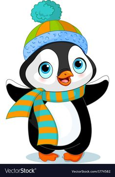 c8174c232 Cute winter penguin with hat and scarf. Download a Free Preview or High  Quality Adobe