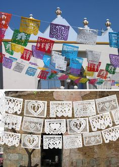 DIY papel picado instructions and inspiration. Beautiful as a Cinco de Mayo party decoration.