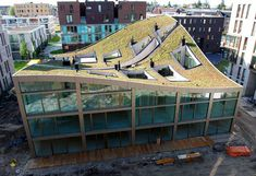 Stunning Green Roofed Apartment Building Rises in Amsterdam NL Architects Blok K – Inhabitat - Sustainable Design Innovation, Eco Architecture, Green Building Green Architecture, Sustainable Architecture, Sustainable Design, Amazing Architecture, Architecture Design, Nachhaltiges Design, Roof Design, Interior Design, Unusual Buildings