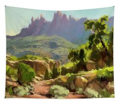 Mountain of Spires, Zion National Park wall art tapestry landscape from Steve Henderson Collections. Bring the majesty and space of the Southwest wilderness into your home -- travel on a remote, dirt road that leads up to the cliffs and spires and mountains of one of Utah's most distinctive and unusual places. #zion #nationalpark #vacation #travel #hike #utah #artthatspeaks #shenderson #landscape #desert #wilderness #wildlands #mountains #magical #surreal #colorful #tapestry #wallart