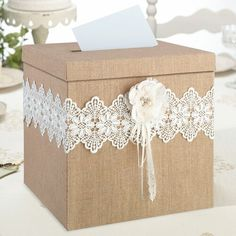 This Rustic Wedding Card Box is perfect for a rustic theme wedding or special event. This burlap wedding card box features lovely burlap, lace and cording. Wedding Gift Card Box, Rustic Card Box Wedding, Gift Card Boxes, Wedding Boxes, Wedding Cards, Wedding Gifts, Lace Wedding, Trendy Wedding, Wedding Ideas