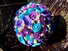 Turquoise and purple bridal bouquet rustic by LittleBlueBirdSays Calla Lily Bridal Bouquet, Rustic Bridal Bouquets, Lilac Bouquet, Peony Bouquet Wedding, Purple Wedding Bouquets, Bridal Bouquet Fall, Rustic Wedding Flowers, Flower Bouquets, Alternative Bouquet