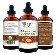 Moroccan Argan Oil 100% Organic by TJK, USDA, Cold-Pressed, For Face, Hair, Skin, Feet, Nails