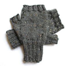 Gray Tweed Fingerless Gloves for Men  size S by BellaBlueKnits, $27.00