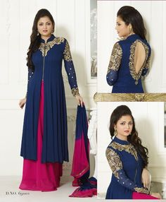 Drashti Dhami Georgette Machine Work Blue & Pink Semi Stitched Long Anarkali Suit - S86 In Stock: Rs 1,199