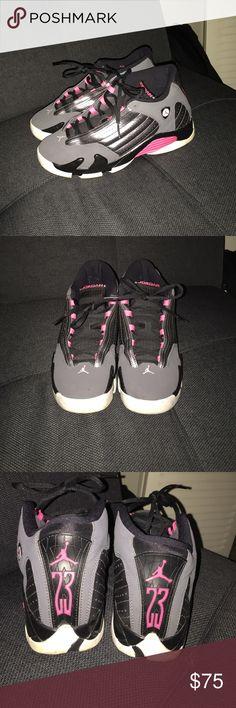Air Jordan 14 Pink, black and grey air Jordan 14s Jordan Shoes Sneakers