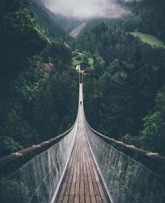 Long bridge in Bellwald, Switzerland.