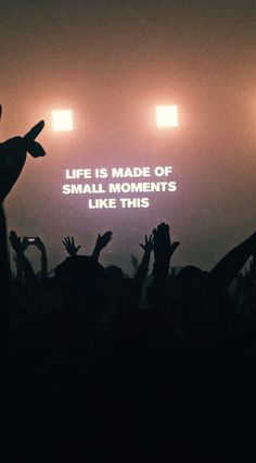 "Concert photo- ""Life is made of small moments like this"" Happy Words, Wise Words, Small Moments, Photo Wall Collage, Picture Wall, Pretty Words, Quote Aesthetic, Aesthetic Pictures, Mood Quotes"