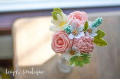 Rose Peony Daisy and Wildflower Bouquet / by LeaphBoutique on Etsy