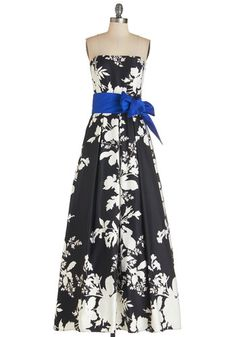 The Gift of Glamour Dress - Black, White, Floral, Pockets, Belted, Special Occasion, Prom, Maxi, Strapless, Woven, Long, Pleats
