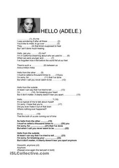 Hello -Adele´s Song worksheet - Free ESL printable worksheets made by teachers English Study, English Lessons, Learn English, Teaching English Grammar, English Vocabulary, English Activities, Reading Activities, Adele Songs Lyrics, English Exercises