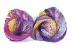2.8 oz 79 grams chunky textured art batts merino locks loads of sparkles and sari silk waste