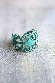 Filigree ring patina solid brass boho ring adjustable AQUA on Etsy, $10.00