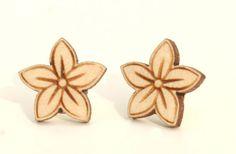 Laser cut wooden earrings - Flower earrings