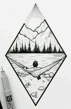 Mountain landscape # Art # Forest # - Norma D. Landscape Drawings, Landscape Art, Landscape Design, Forest Landscape, Tattoo Drawings, Cool Drawings, Tattoo Sketches, Easy Nature Drawings, Pencil Drawings