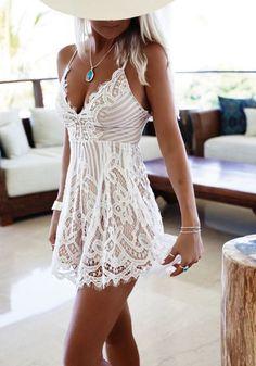 White Plain Condole Belt Lace Tie Back Sexy Mini Dress