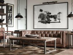 """Iron coffee table with """"x"""" Masculine Art, Big Wall Art, Iron Coffee Table, Artist Loft, Old Farm, Kitchen Styling, Restoration Hardware, Home Living Room, White Walls"""