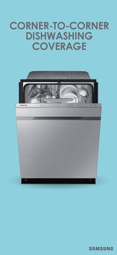 Discover the latest features and innovations available in the Top Control Dishwasher with WaterWall Technology. Find the perfect Dishwashers for you! Samsung Dishwasher, Wall Of Water, Turquoise Cushions, Clean Pots, Silverware Tray, Black Bar Stools, Black Countertops, Kitchen Collection, Gadgets And Gizmos