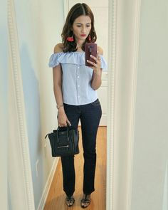 Celine Nano Bag, Clothing Blogs, Zara Bags, Types Of Girls, H&m Jeans, Blogger Style, Distressed Jeans, Long Sleeve Tops, What To Wear