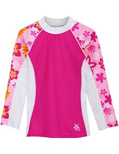 Protect your little one's skin from the sun and the sea with this rashguard top. Stretch fabric sets her free to swim and build sand castles with ease. Conservative Swimsuit, Swim Shop, Rash Guard, Big Kids, Stretch Fabric, Toddler Girl, Beachwear, Infant, Tees