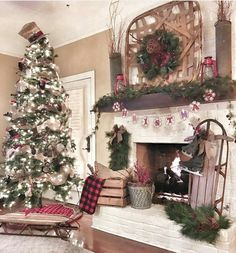 without the top hat at the tree topper fire place christmas decor farmhouse christmas trees