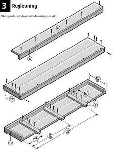Tuinbank van steigerhout bouwtekening voor de rugleuning.