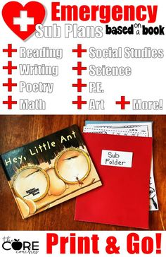 Emergency! plans for a substitute. Themed sub plans that are perfect for a whole day of learning and fun! Sub plans based on a book- Hey Little Ant by the Core Coaches