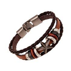 Jiayiqi granos de la vendimia de la pulsera hecha a mano tejida elegante de cuero marrón pulseras y brazaletes para las mujeres de los hombres accesorios de joyería de moda en Pulseras del encanto de Joyas y Accesorios en AliExpress.com | Alibaba Group