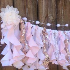 Garland Blush Pink Rose Quartz Ribbon Curtain First Birthday Backdrop Rose Gold Lace Curly Willow Rustic Boho Shabby Nursery Shower Decor