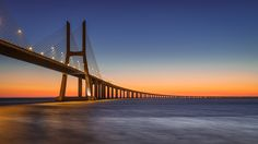 Tejo Dawn - Vasco da Gama bridge, Lisbon, Portugal  At 17km long, the longest bridge in Europe.
