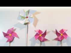 HD / TUTO: Moulin à vent, deux façons de faire - Windmill, two ways to do Origami, Deco Originale, Le Moulin, Windmill, Diy And Crafts, Kids Room, Cycle, Questions, Montessori