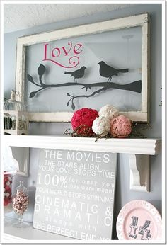 Valentines Day Decorations - mantle day decorations mantle Inspired Ways To Use Old Windows Deco Dyi, Old Windows, Vintage Windows, Valentines Day Decorations, Bird Decorations, Home And Deco, Interior Decorating, Decorating Ideas, Decor Ideas