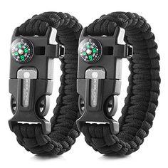 X-Plore Gear Emergency Paracord Bracelets | Set Of 2| The ULTIMATE Tactical Survival Gear| Flint Fire Starter, Whistle, Compass & Scraper/Knife| BEST Wilderness Survival-Kit — Black(L)/Black(L)