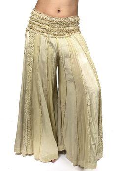 834b7e91ea39fd A cotton wide leg pant, looks like a skirt with crochet lace details, double