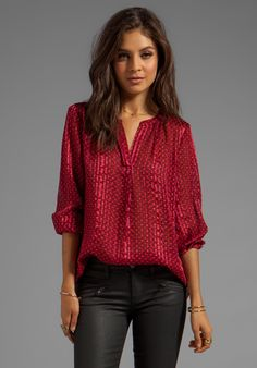 Marc by Marc Jacobs Minetta Print Silk Top in Wine