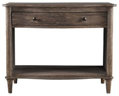 The Baxley 1 Drawer Nightstand from Curations Limited has a natural weathered finish on solid oak.  The distressed finish and Traditional styling make this a