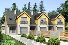DOM.PL™ - Projekt domu Mój dom Asarina szeregówka z garażem CE - DOM BR5-21 - gotowy projekt domu