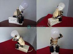 Hiasan Tempat Lampu Bentuk Robot dari Barang Bekas