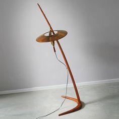 Anonymous; Teak, Walnut and Brass Floor Lamp, 1950s.