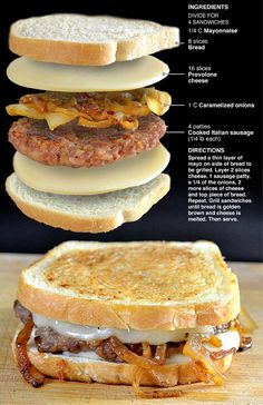 Behind the Bites: Italian Sausage Patty Melts sausage sandwich Beef Recipes, Cooking Recipes, Recipies, Vegan Recipes, Cooking Bacon, Cooking Tips, Deli Sandwiches, Vegan Sandwiches, Soup And Sandwich