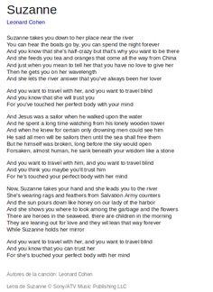 leonard cohen suzanne lyrics - Buscar con Google