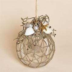 83MM Acrylic Ornament with Nautical Netting, Shells, Starfish: