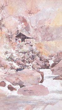 吉田博「荒沢(日光)」水彩。 Hiroshi Yoshida Landscape Prints, Landscape Paintings, Ink Painting, Watercolor Paintings, Art Occidental, Japan Illustration, Japanese Folklore, Mountain Paintings, Japanese Painting