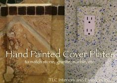 Hand painted cover plates for electric sockets and switches look like the marble, and tile. I love this technique to make the plates blend in. Artist Jeanne Hall, painting contractor Marathon, FL does this artistic finish so well!