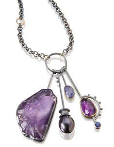 Deep Purple cluster necklace: amethyst, tanzanite, purple pearl. www.sydneylynch.com