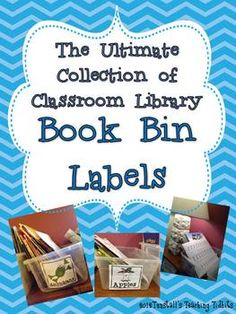 Classroom Library book bin labels $